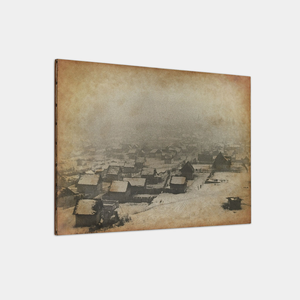ジプシーの居住区の冬の写真 (斜め)